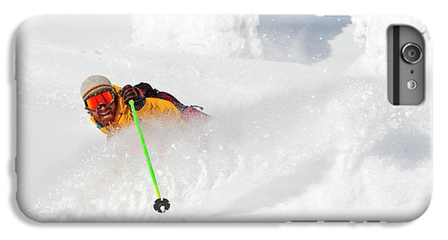Holding IPhone 6 Plus Case featuring the photograph Male Skier Makes A Deep Powder Turn by Craig Moore