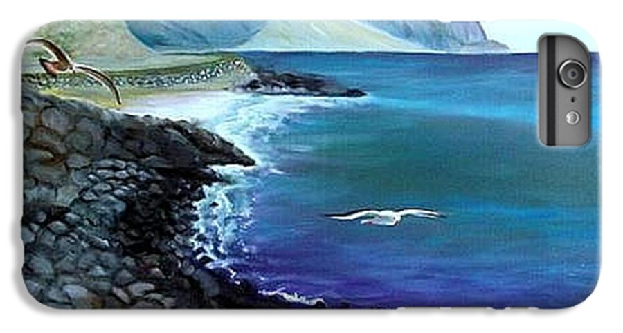 Malibu Beach IPhone 6 Plus Case featuring the painting Malibu Beach by Lora Duguay