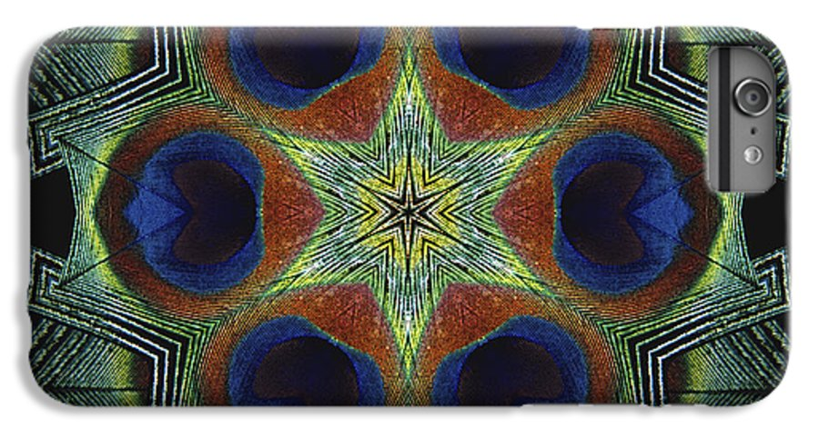 Mandala IPhone 6 Plus Case featuring the digital art Mandala Peacock by Nancy Griswold