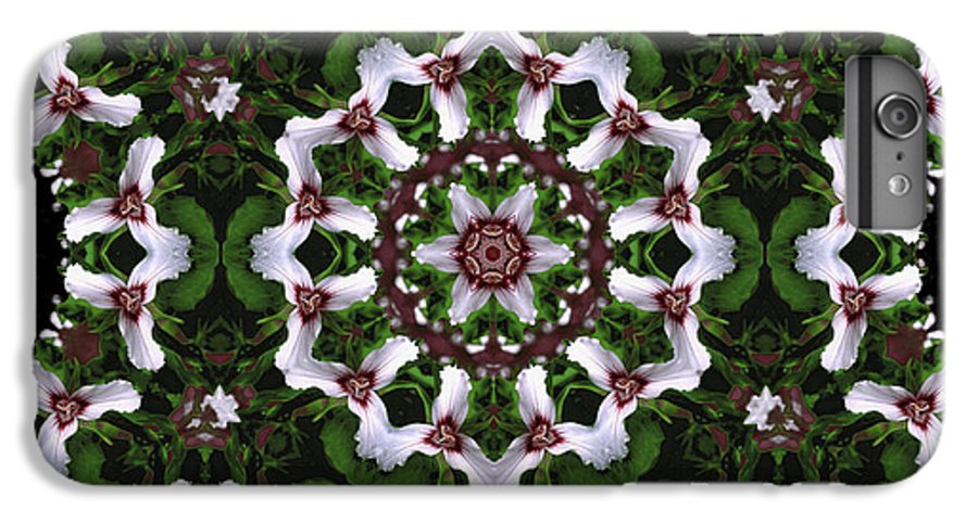 Mandala IPhone 6 Plus Case featuring the digital art Mandala Trillium Holiday by Nancy Griswold