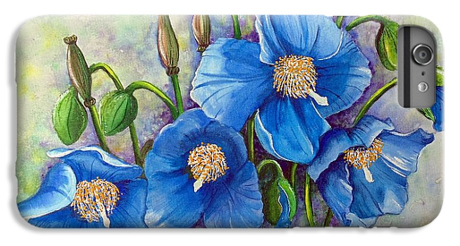 Blue Hymalayan Poppy IPhone 6 Plus Case featuring the painting Meconopsis  Himalayan Blue Poppy by Karin Dawn Kelshall- Best