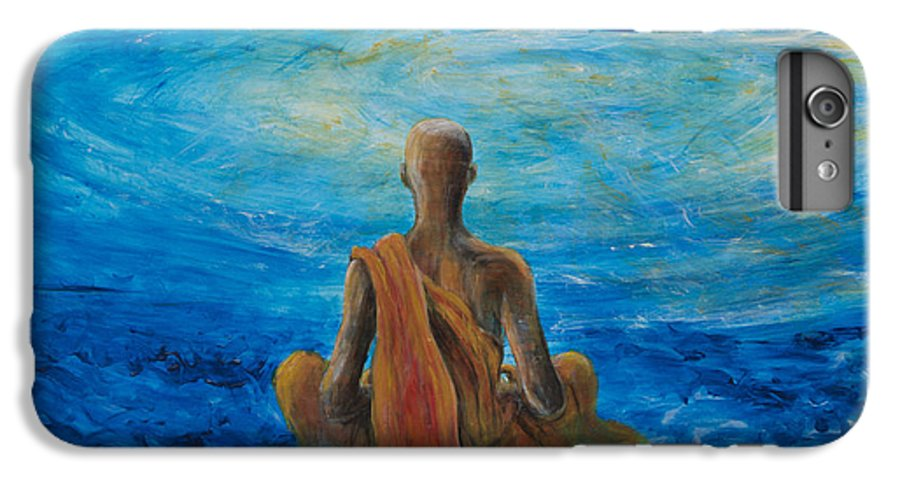 Monk IPhone 6 Plus Case featuring the painting Meditation by Nik Helbig