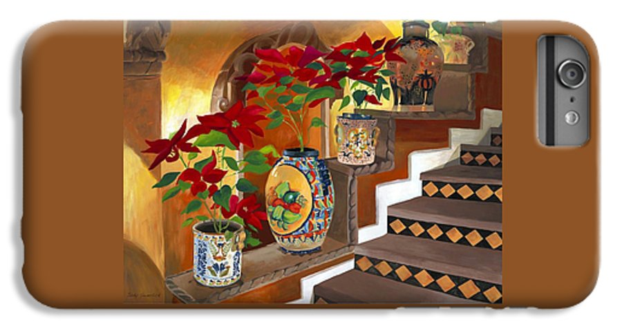 Mexican Pottery IPhone 6 Plus Case featuring the painting Mexican Pottery On Staircase by Judy Swerlick