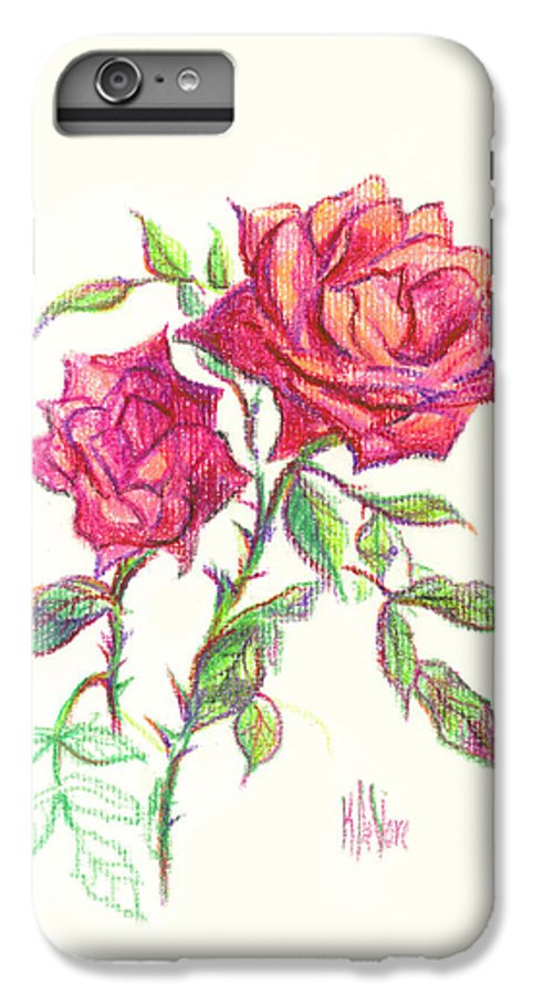Nature IPhone 6 Plus Case featuring the painting Minature Red Rose by Kip DeVore