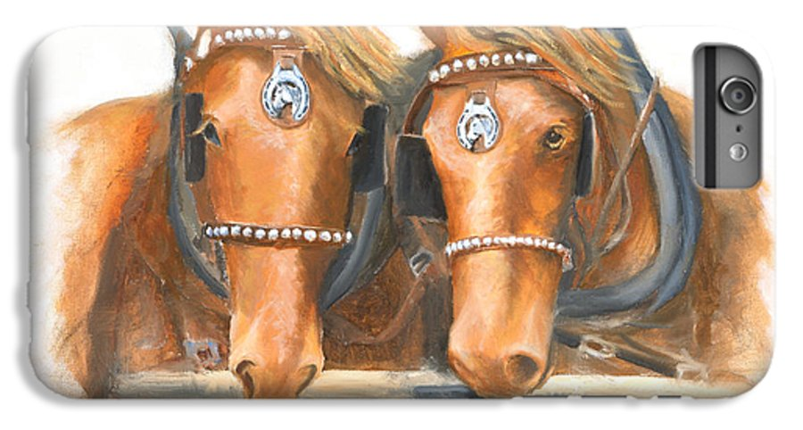 Horse IPhone 6 Plus Case featuring the painting Mini And Jake by Jerry McElroy