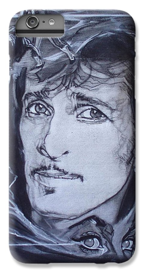 Charcoal;mink Deville;new York City;gina Lollabrigida Eyes ;cat Eyes;bullfight;toreador;swords;death;smoke;blues IPhone 6 Plus Case featuring the drawing Mink Deville - Coup De Grace by Sean Connolly