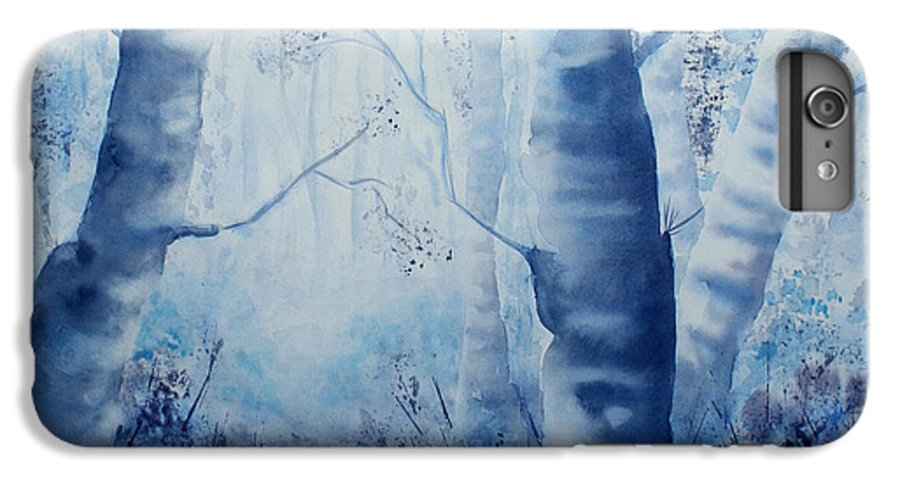 Landscape IPhone 6 Plus Case featuring the painting Misty Blue by Janice Gell