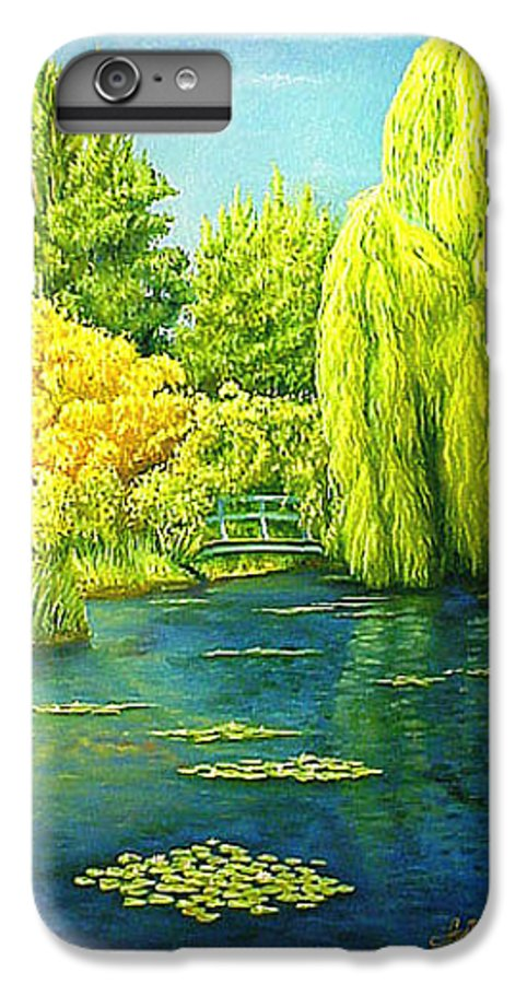 Monets Lily Pond IPhone 6 Plus Case featuring the painting Monets Lily Pond In Green by Gary Hernandez