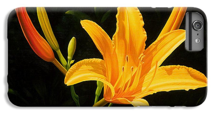 Floral IPhone 6 Plus Case featuring the painting Monikas Lily by Gary Hernandez