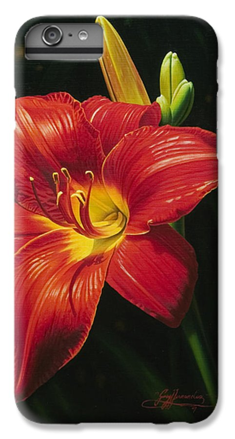 Lily IPhone 6 Plus Case featuring the painting Monikas Red Lily by Gary Hernandez