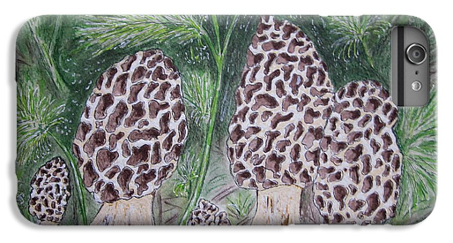 Morel IPhone 6 Plus Case featuring the painting Morel Mushrooms by Kathy Marrs Chandler