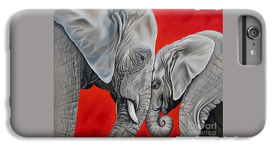 Elephant IPhone 6 Plus Case featuring the painting Mothers Love by Ilse Kleyn