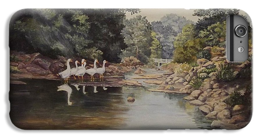 Landscape IPhone 6 Plus Case featuring the painting Mountain Home Creek by Wanda Dansereau