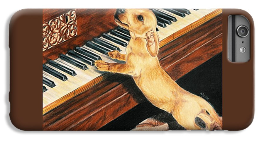 Dogs IPhone 6 Plus Case featuring the drawing Mozart's Apprentice by Barbara Keith