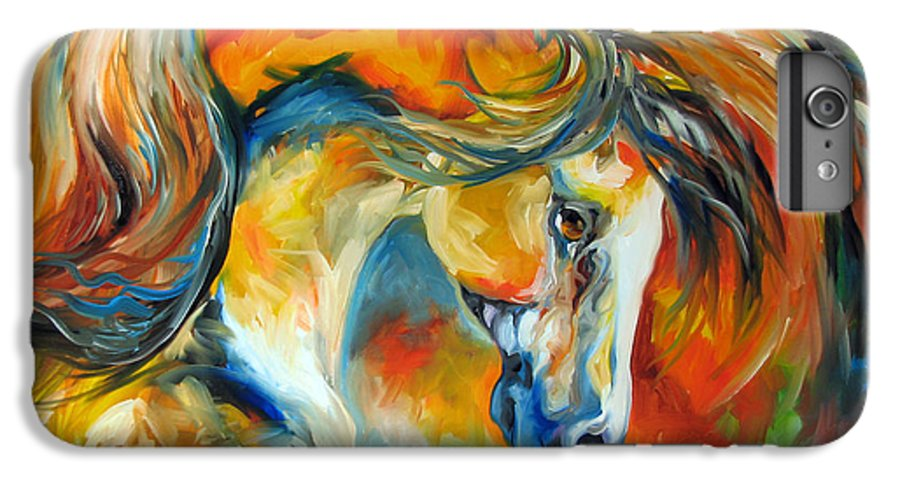 Equine IPhone 6 Plus Case featuring the painting Mustang West by Marcia Baldwin