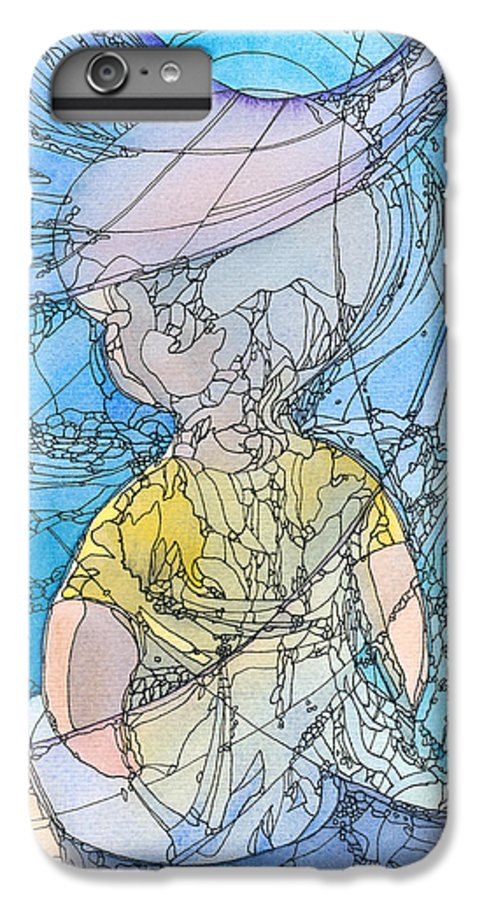 Small IPhone 6 Plus Case featuring the painting My Little Blue by Christina Rahm Galanis
