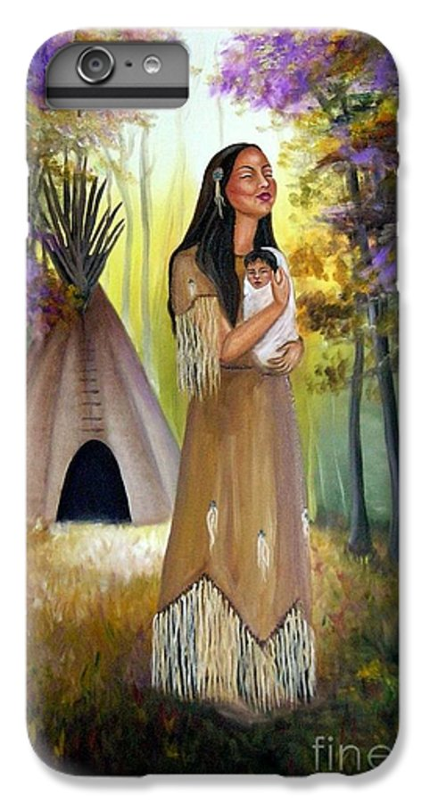 Native American IPhone 6 Plus Case featuring the painting Native American Mother And Child by Lora Duguay