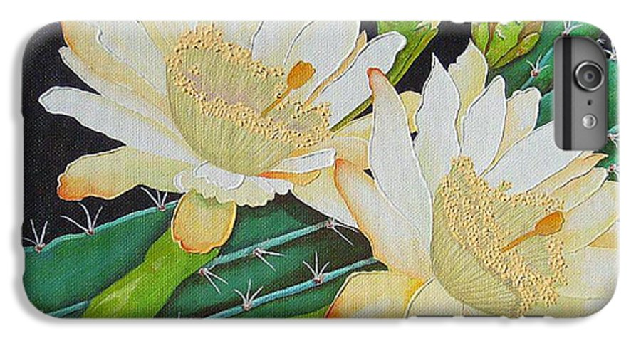 Acrylic IPhone 6 Plus Case featuring the painting Night Blooming Cacti by Carol Sabo