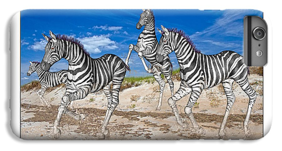 Beach IPhone 6 Plus Case featuring the mixed media No Zoo Zebras by Betsy Knapp