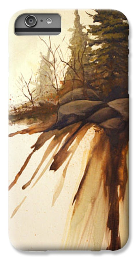 Rick Huotari IPhone 6 Plus Case featuring the painting North Woods Pines by Rick Huotari