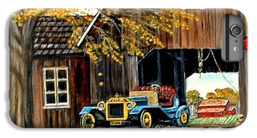 Old Barn Car IPhone 6 Plus Case featuring the painting Old Barn And Old Car by Kenneth LePoidevin