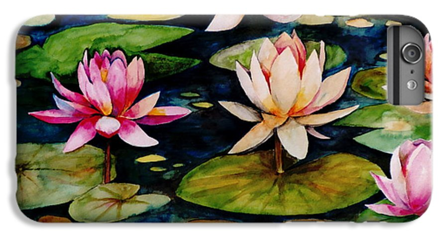 Lily IPhone 6 Plus Case featuring the painting On Lily Pond by Jun Jamosmos