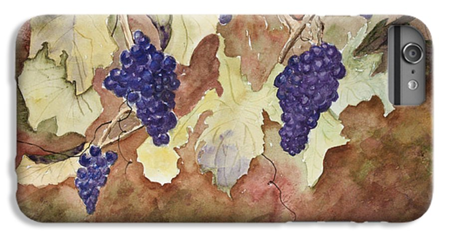 Grapes IPhone 6 Plus Case featuring the painting On The Vine by Patricia Novack