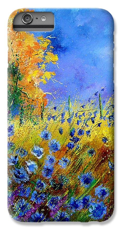 Poppies IPhone 6 Plus Case featuring the painting Orange Tree And Blue Cornflowers by Pol Ledent