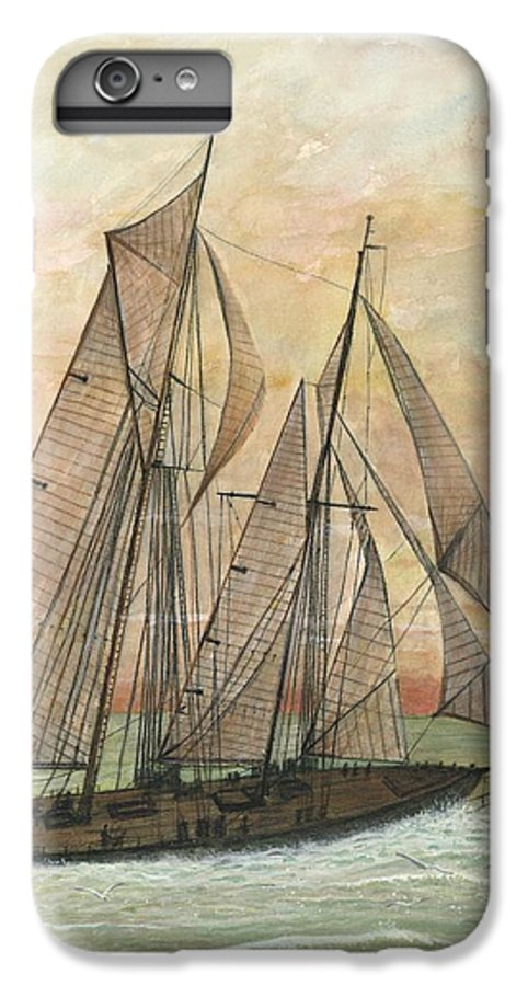Sailboat; Ocean; Sunset IPhone 6 Plus Case featuring the painting Out To Sea by Ben Kiger