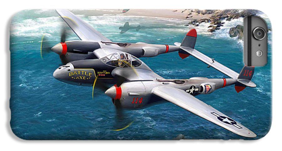 Airplanes IPhone 6 Plus Case featuring the painting P-38 Lightning Battle Axe by Mark Karvon