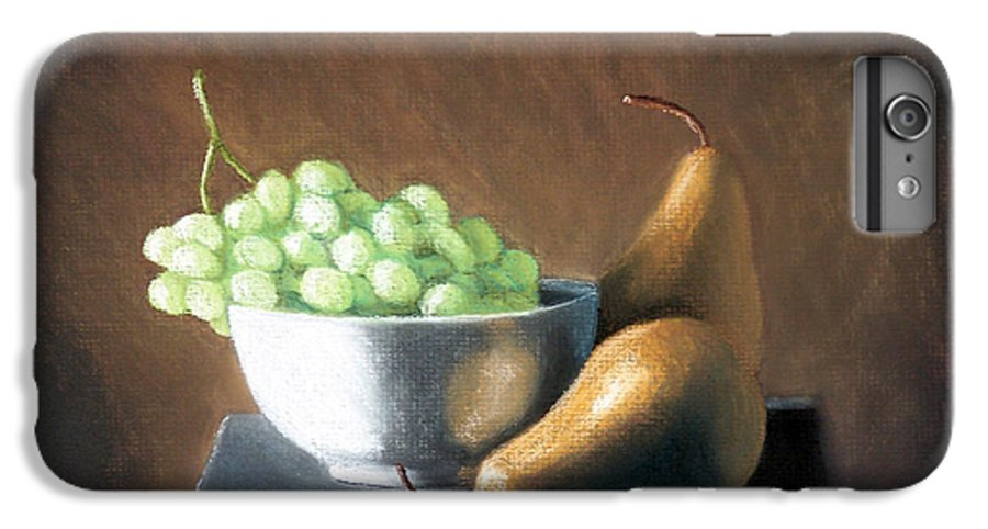Pastel IPhone 6 Plus Case featuring the painting Pears And Grapes by Joseph Ogle