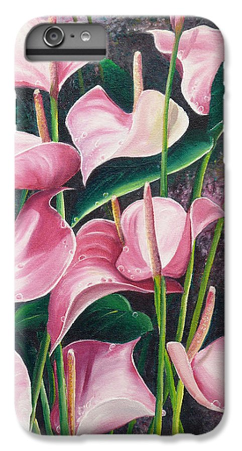 Floral Flowers Lilies Pink IPhone 6 Plus Case featuring the painting Pink Anthuriums by Karin Dawn Kelshall- Best