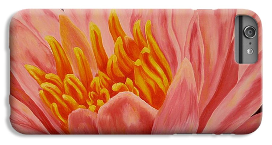 Oil IPhone 6 Plus Case featuring the painting Pink Waterlily by Darla Brock