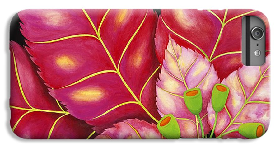 Acrylic IPhone 6 Plus Case featuring the painting Poinsettia by Carol Sabo