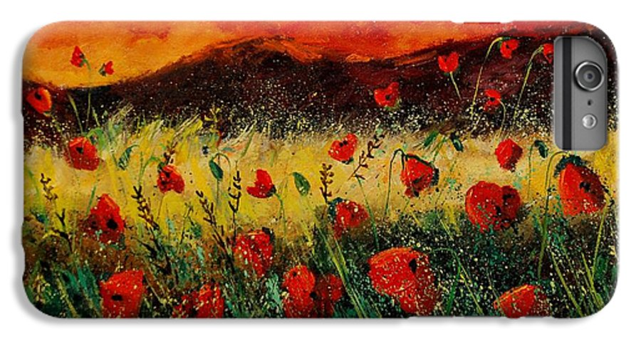 Poppies IPhone 6 Plus Case featuring the painting Poppies 68 by Pol Ledent