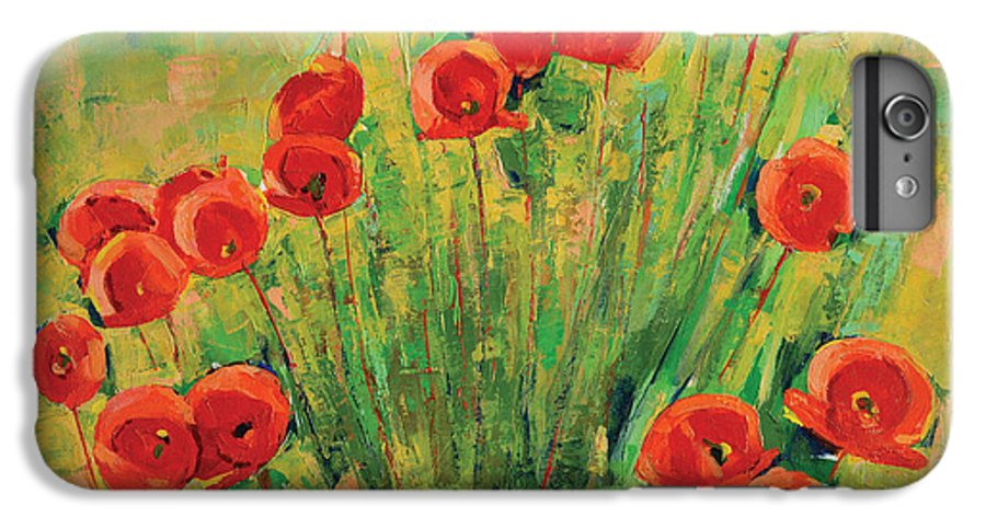 Poppies IPhone 6 Plus Case featuring the painting Poppies by Iliyan Bozhanov