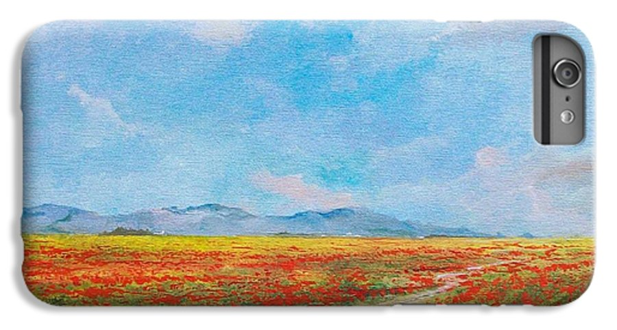 Poppy Field IPhone 6 Plus Case featuring the painting Poppy Field by Sinisa Saratlic
