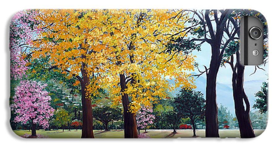 Tree Painting Landscape Painting Caribbean Painting Poui Tree Yellow Blossoms Trinidad Queens Park Savannah Port Of Spain Trinidad And Tobago Painting Savannah Tropical Painting IPhone 6 Plus Case featuring the painting Poui Trees In The Savannah by Karin Dawn Kelshall- Best