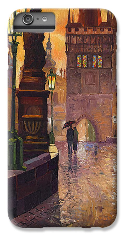 Prague IPhone 6 Plus Case featuring the painting Prague Charles Bridge 01 by Yuriy Shevchuk
