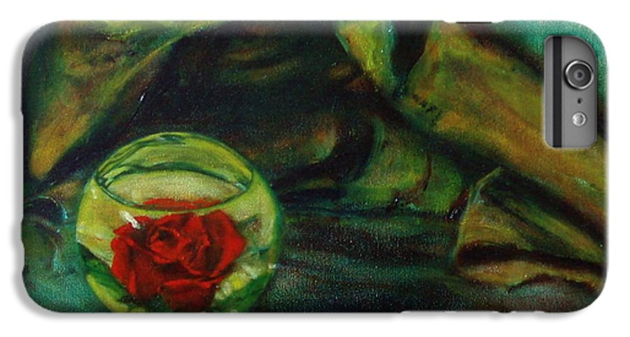Still Life IPhone 6 Plus Case featuring the painting Preserved Rose . . Draped Canvas by Sean Connolly