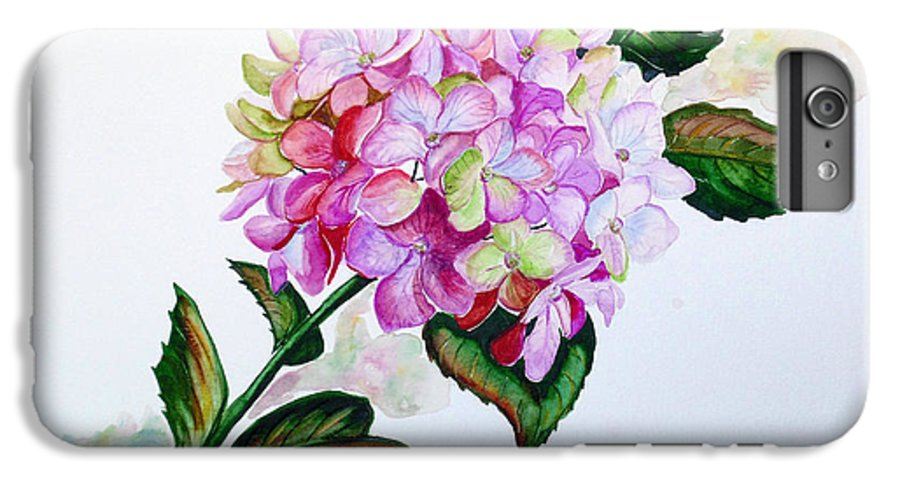 Hydrangea Painting Floral Painting Flower Pink Hydrangea Painting Botanical Painting Flower Painting Botanical Painting Greeting Card Painting Painting IPhone 6 Plus Case featuring the painting Pretty In Pink by Karin Dawn Kelshall- Best