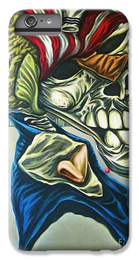 Surrealism IPhone 6 Plus Case featuring the painting Pseudo-archaic Portrait Of An Imaginary Hometown Hero During A Slow Process Of Decomposition by Mack Galixtar