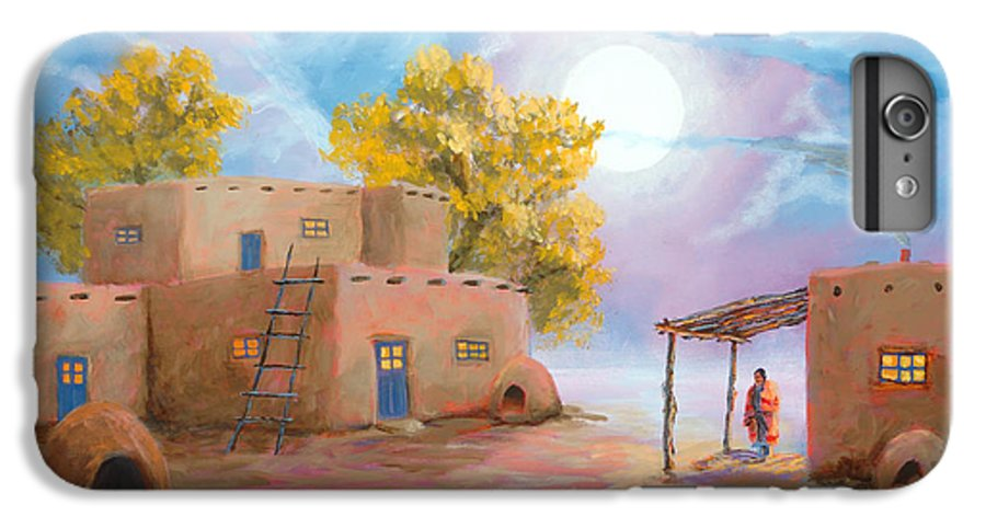 Pueblo IPhone 6 Plus Case featuring the painting Pueblo De Las Lunas by Jerry McElroy