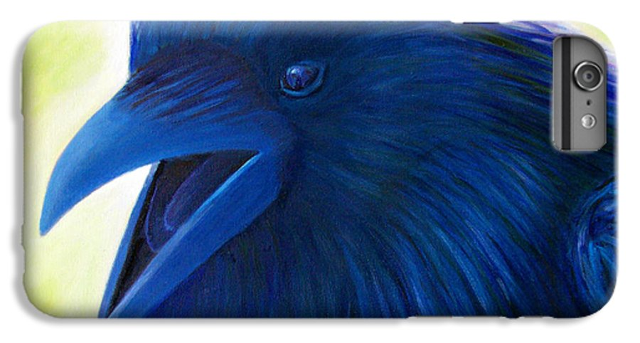 Raven IPhone 6 Plus Case featuring the painting Raaawk by Brian Commerford