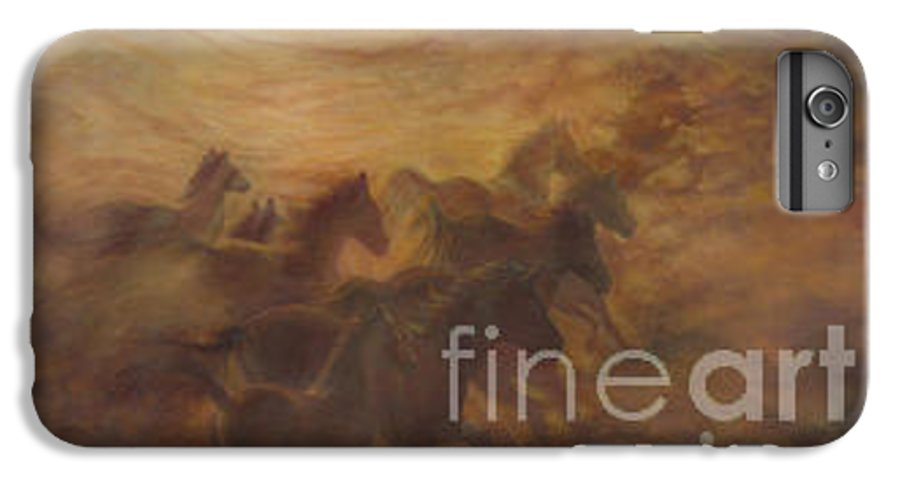 Horse IPhone 6 Plus Case featuring the painting Racing The Wind by Wendy Froshay