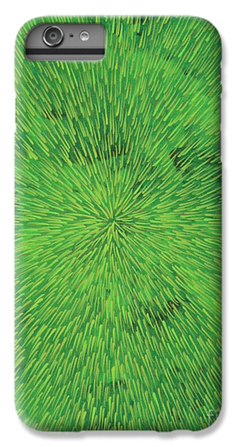 Abstract IPhone 6 Plus Case featuring the painting Radiation Green by Dean Triolo