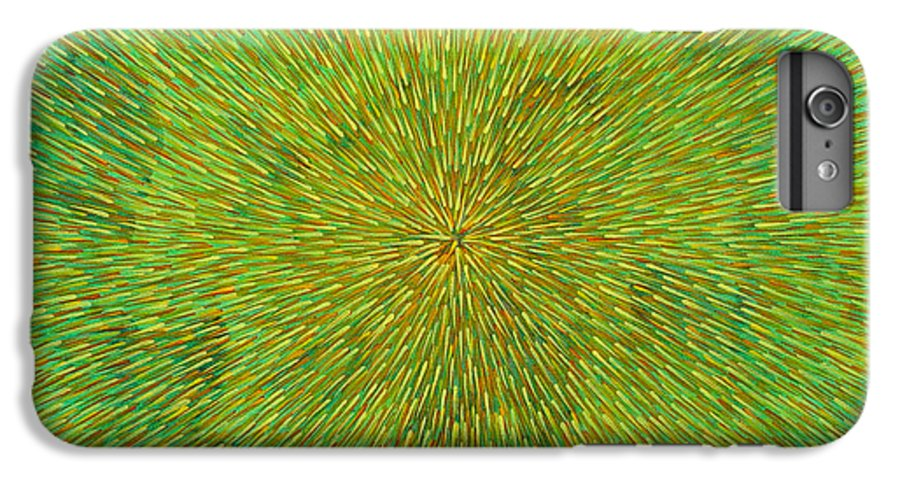 Abstract IPhone 6 Plus Case featuring the painting Radiation With Green Yellow And Orange by Dean Triolo