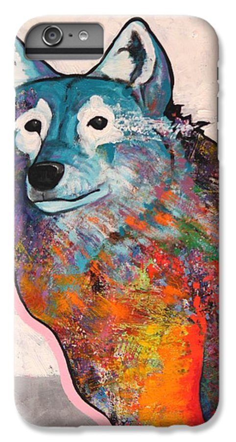 Animal IPhone 6 Plus Case featuring the painting Rainbow Warrior - Alfa Wolf by Joe Triano