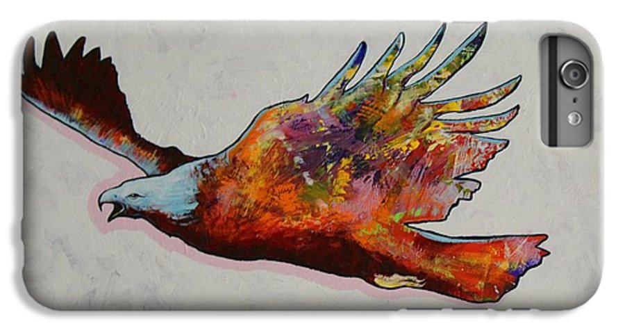 Wildlife IPhone 6 Plus Case featuring the painting Rainbow Warrior Flying Eagle by Joe Triano