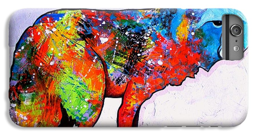 Animal IPhone 6 Plus Case featuring the painting Rainbow Warrior - Fox by Joe Triano
